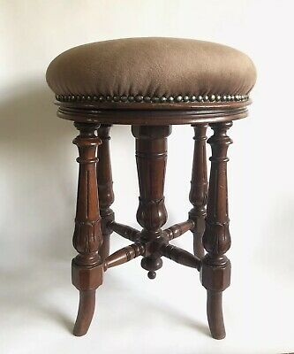 Antique Victorian Mahogany Joseph Fitter Piano Stool Adjustable Seat