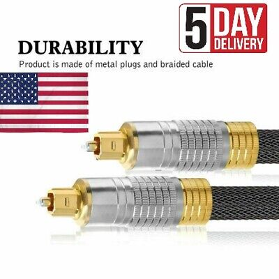 Premium Gold Plated Digital Toslink Optical Fibre Audio Cable Cord For TV DVD CD