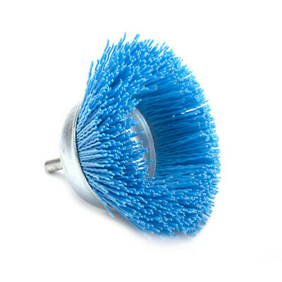 """75mm 3"""" Nylon Wire Brush Cup Abrasive Wire Wheel Grinding Rotary Tool 6mm Shank"""