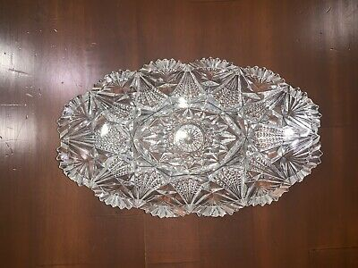 Vintage Cut Crystal Oval Celery Relish Dish Scalloped Bowl