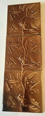 "Antique Ceramic 6"" Fireplace Tile Vintage Floral Flower Set Of 3 Brown Glaze"