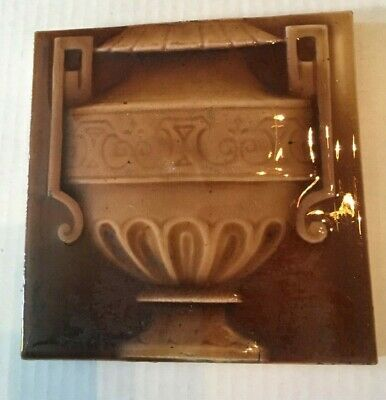 "Antique Ceramic 6"" Fireplace Tile Vintage Urn Floral Flower Brown Glaze"
