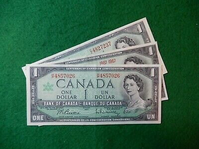 * Canadian Mix of 3 series one dollar bill, bills bank notes Lot # 026  nice