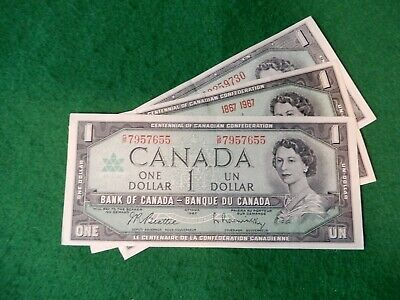 * Canadian Mix of 3 series one dollar bill, bills bank notes Lot # 655  nice