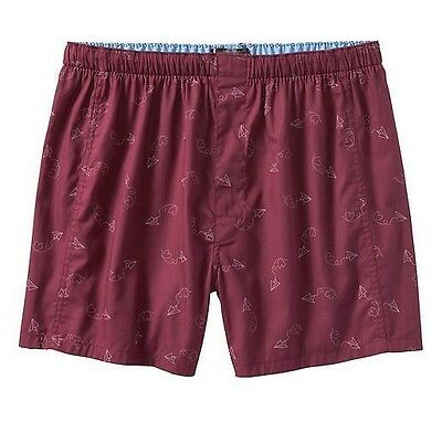 NWT Men's BANANA REPUBLIC Paper Airplane Love Print Boxer Ruby L (36-38) 73324