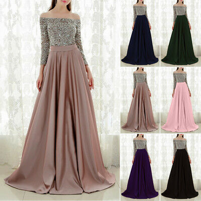 Womens Off Shoulder Wedding Bridesmaid Ball Gown Prom Evening Formal Party Dress