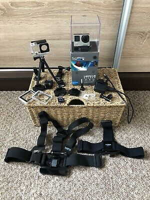 GoPro HERO4 Action Camcorder Camera  Silver with Box Chest Harness & Head Strap