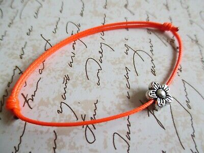 Red Waxed Cotton Cord Surfer Bracelet with Tibetan Silver Daisy Bead Adjustable