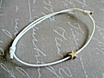 Adjustable Waxed Cotton Cord Surf Boho Bracelet with Rose Gold Tone Star Charm