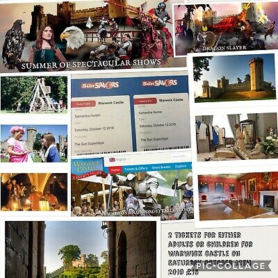 2 Tickets For WARWICK CASTLE - Adults Or Children 12/10/2019