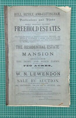 "1886 Hull Auction -  ""Cottingham House"" & Home Farm and Wise's Farm & large maps"