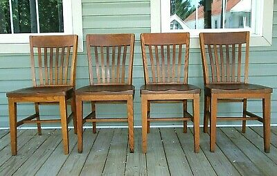 4 Set Antique Vintage MISSION STYLE SOLID OAK DINING CHAIRS by S.K. Pierce & Son
