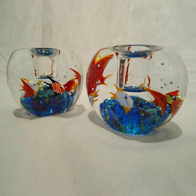 Vintage Set of Murano Hand Blown Glass Fish Candle Holders