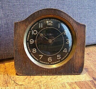 Antique 1930's Art Deco Oak Smiths 30 Hour Bedroom Clock (Winding Mechanism)