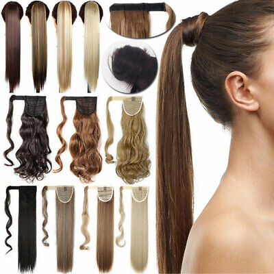 ON CLEARANCE Clip in Real Natural Ponytail Hair Extensions Long Wavy Wrap on UK