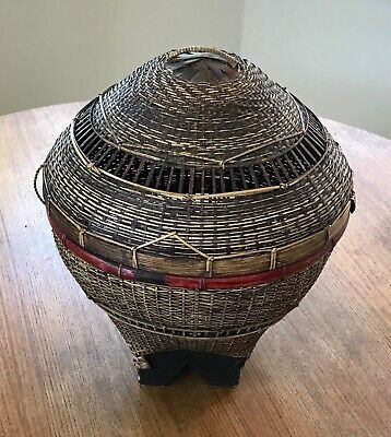 1940s Hand made Asian Bamboo Cane Decor Basket 14 inches