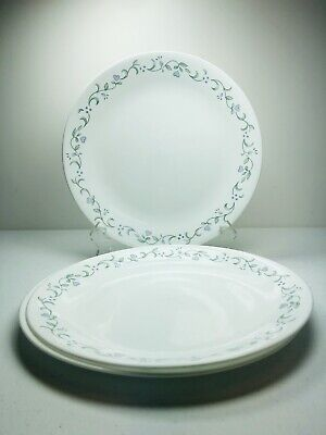 """Corelle Country Cottage Dinner Plates SET 3 USA Vintage Heart Leaves 10 1/4"""" Dia"""