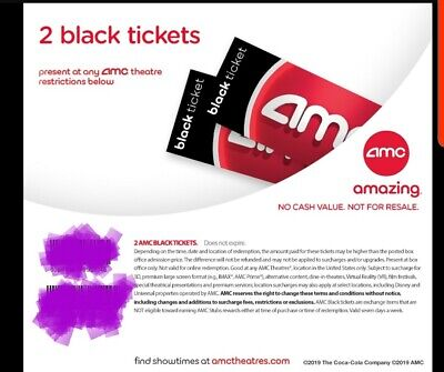 INSTANT QUICK DELIVERY. 2 AMC Black Movie Ticket. No exp