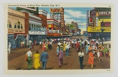 Postcard Linen Boardwalk at Steel Pier Atlantic City New Jersey