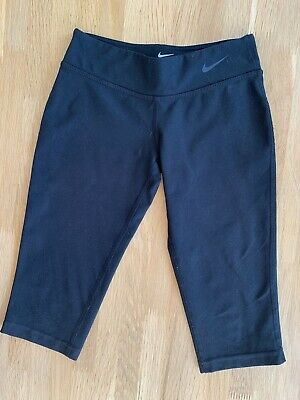 Girls Nike XS X Small Cropped Gym Sports Trousers Black 6-8 Years