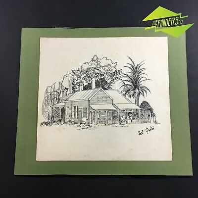 Vintage Hal Porter 'Alberton Post Office' Ink On Paper Original Artwork