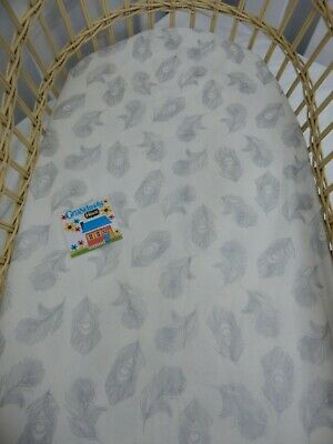 Bassinet Fitted Sheet Soft Silver Feathers Pure Cotton  FITS STANDARD BASSINET
