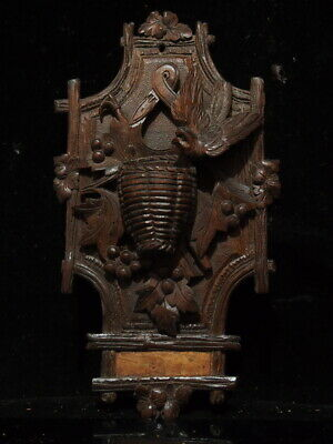 Antique Carved Black Forest Match Holder Plaque