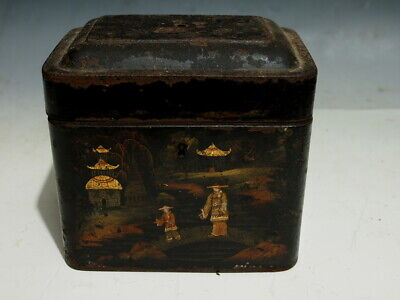 Antique Early 19Th Century English Toleware Japanned Tea-Caddy