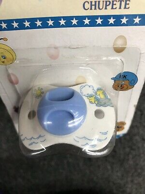 VTG Rare 90's Latex Baby Pacifier Chupete White Blue New Great For Reborn Dolls