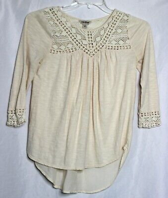 Lucky Brand Boho Off White V Neck Blouse Tunic Top Womens Size Small