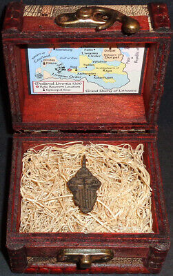 Ancient European Bronze Holy Cross Pendant Relic with Display Chest!