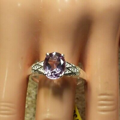 Rose De France Amethyst,  Sterling Silver  Ring Size 10 - 2.40 Ctw