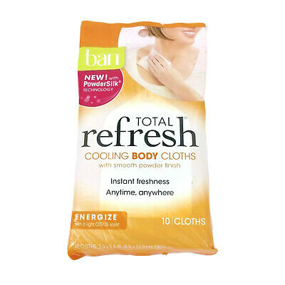 Ban Total Refresh Cooling Body Cloths Energize Citrus 10 in Pack New Sealed