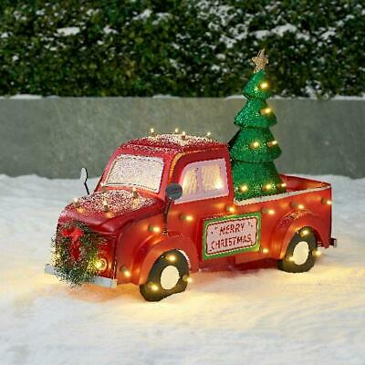 Holiday Time Light-Up Metal Look LED Truck Outdoor Christmas Decoration