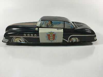 Vintage tin toy Police car  Highway Patrol TV show Broderick Crawford 50's