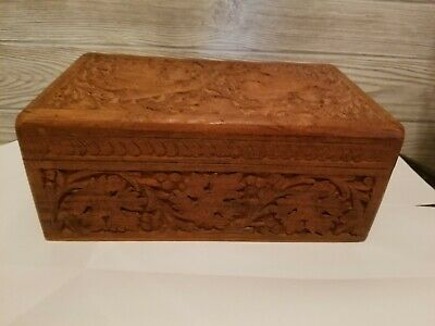Vintage Rectangular Ornate Carved Wood Box 10.5 x 6.5 hinged jewelry trinkets