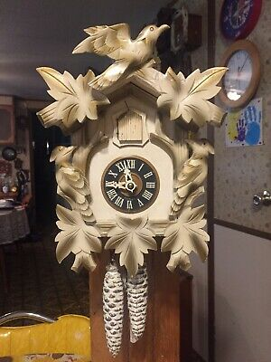 Vintage Rare  White/Bronze Color  Cuckoo Clock             Germany