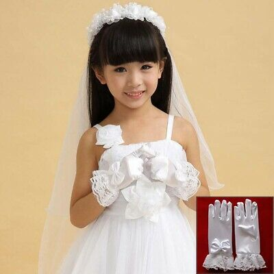 Girls Romantic Lovely  Flower Party Kids Lace Pearl Gloves First Communion