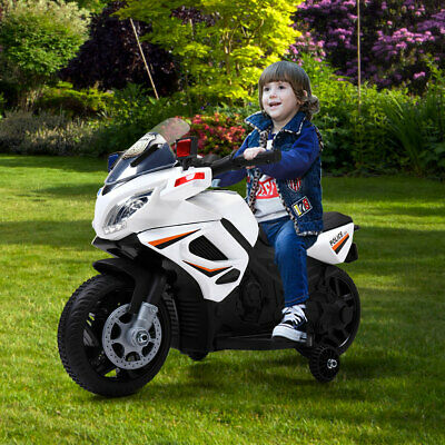 6V Kids Motorcycle Powered Electric Ride On Toy Car w/ 2 Training Wheels White
