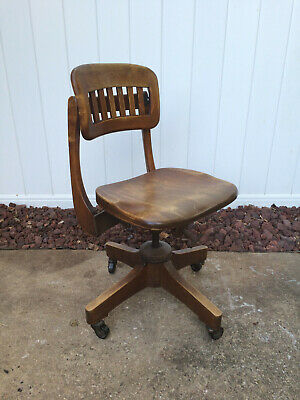 Vintage Dubin Co Wood Office Swivel Wheel Chair Lawyer Banker (Local Pickup Only