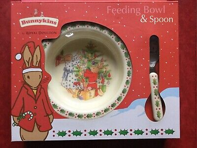 Christmas Feeding Bowl & Spoon Bunnykins Royal Doulton Melamine Still In Box