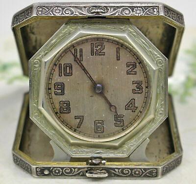 Elgin Sterling Case Travel Table Clock Roric Movement Sparta Dated 1861 No Mono