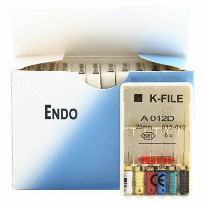 1 Pack Dental Stainless Steel Endodontic K Files 25mm 15-40 Root Canal Hand Use