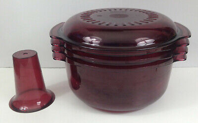Tupperware Microwave Stack Cooker 5-Piece Steamer Cranberry Cone 3 Qt 1 3/4 Qt