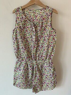 Girls Next Age 9 Yellow And Pink Floral Playsuit