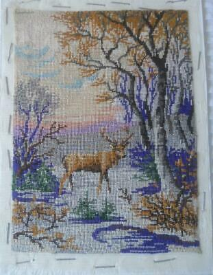 Gorgeous Vintage Petit Point Tapestry Stag In Forest