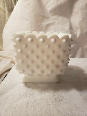 """Fenton Milk Glass Hobnail Square Planter Footed #3699 (1961-81) 4"""" Stamped"""