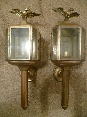 A Vintage Pair Of Electric Brass Coach Lamps, With Imperial French Eagle Finials