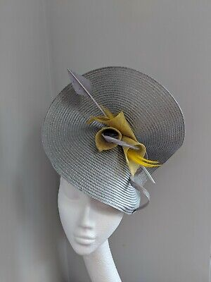 Grey And French Mustard Woven Straw Fascinator,Races Weddings