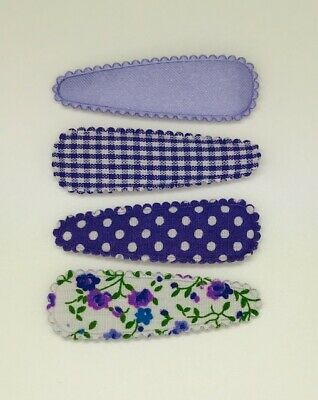 Baby Girl Toddler Non Slip Hair Clips Bow 4.7cm Snap Clips Set of 4 ~ Purple